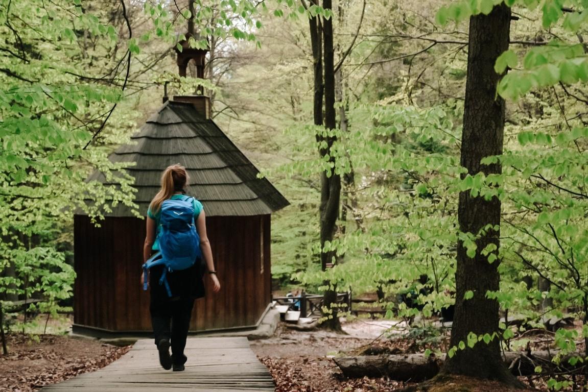 Dziewczyna z niebieskim plecakiem idąca zielonym szlakiem.