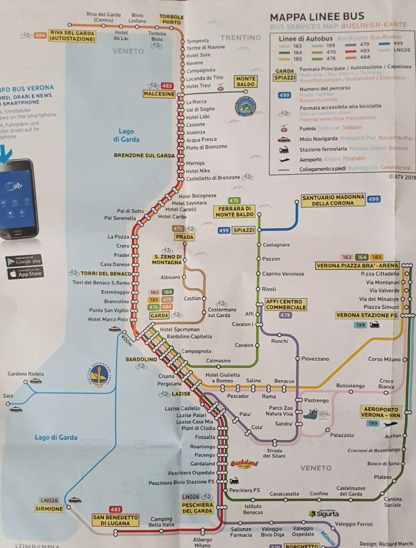 Mapa komunikacji Jezioro Garda.