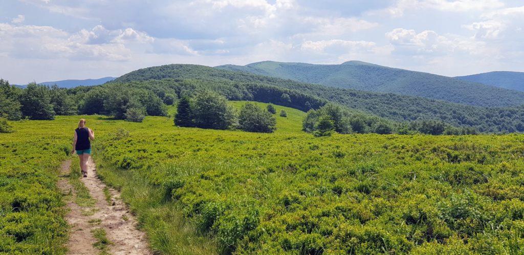 Dziewczyna idca samotnie szlakiem górskim. Zielone Bieszczady.