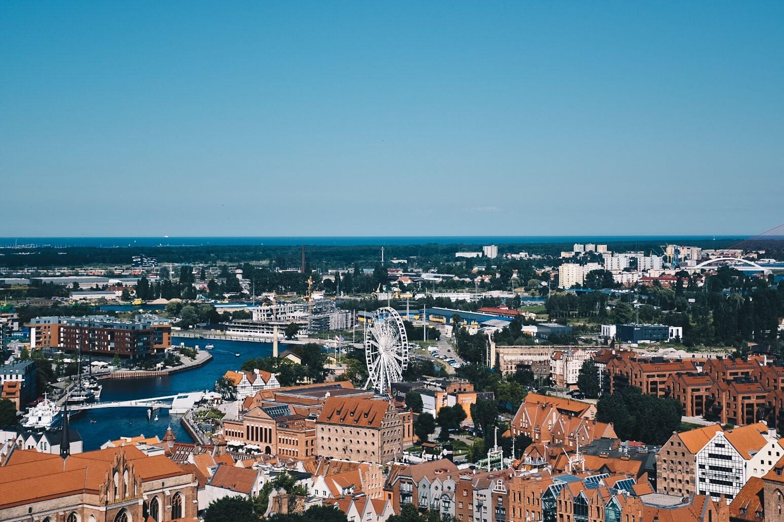 Gdańsk widziany z wieży Bazyliki Mariackiej.