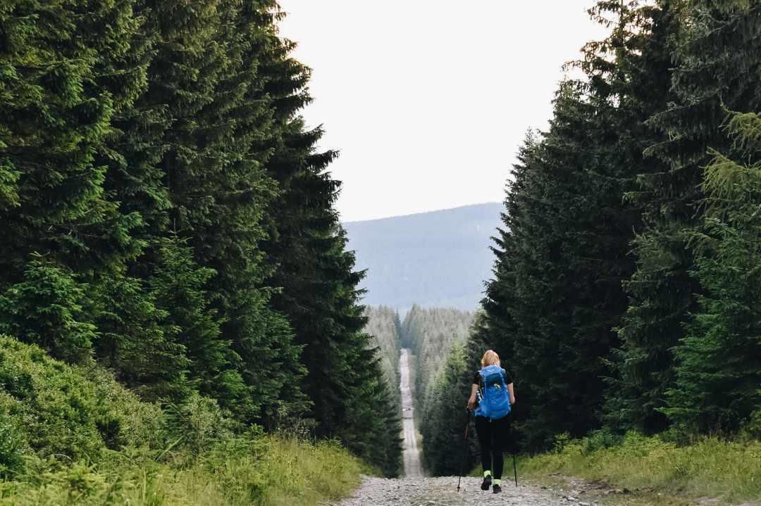 Samotna turystka na górskim szlaku.
